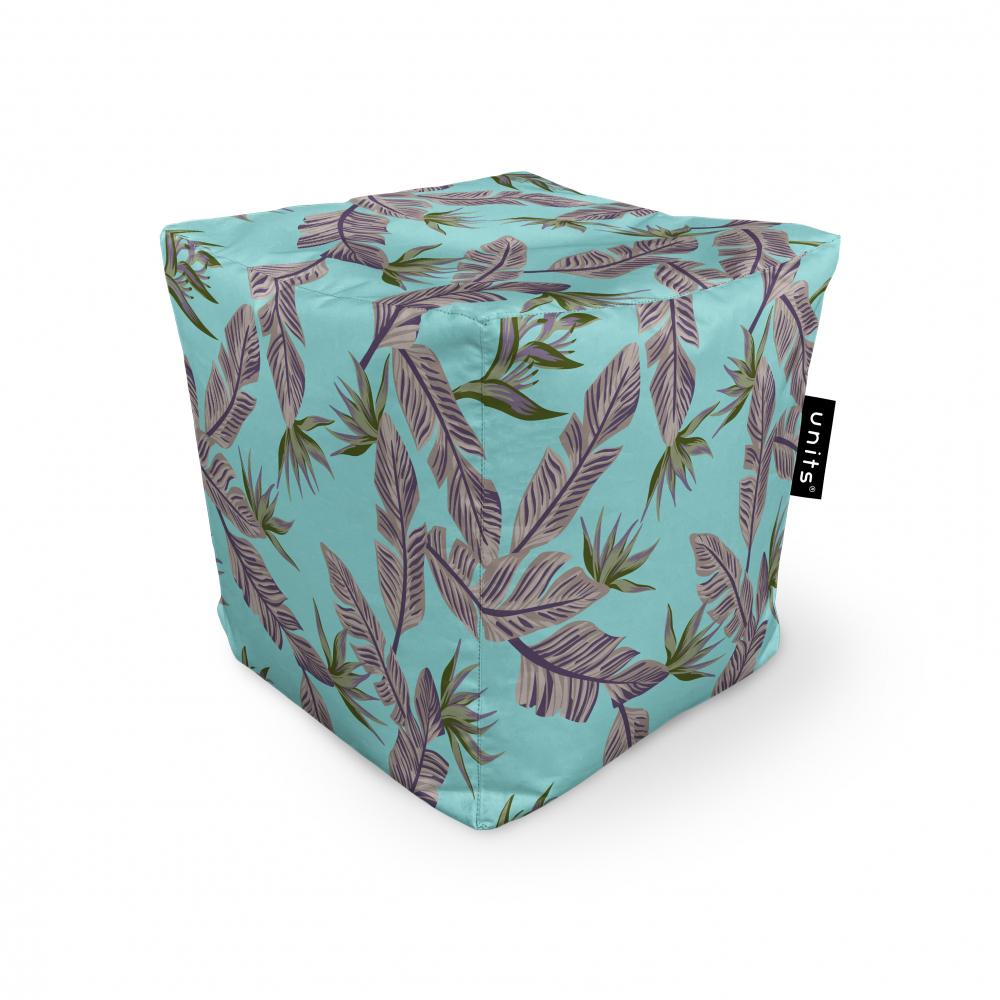Fotoliu Units Puf Bean Bags tip cub impermeabil cian cu frunze gri