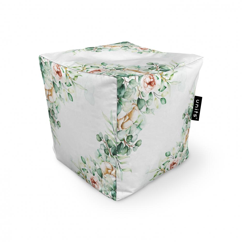 Fotoliu Units Puf Bean Bags tip cub impermeabil floral alb