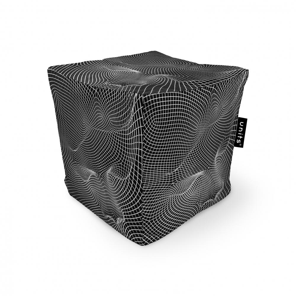 Fotoliu Units Puf Bean Bags tip cub impermeabil topografic negru