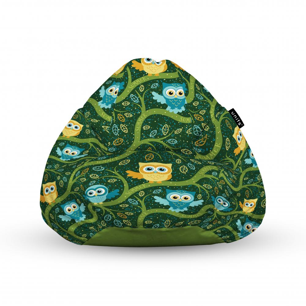 Fotoliu Units Puf Bean Bags tip para impermeabil cu maner bufnite verde
