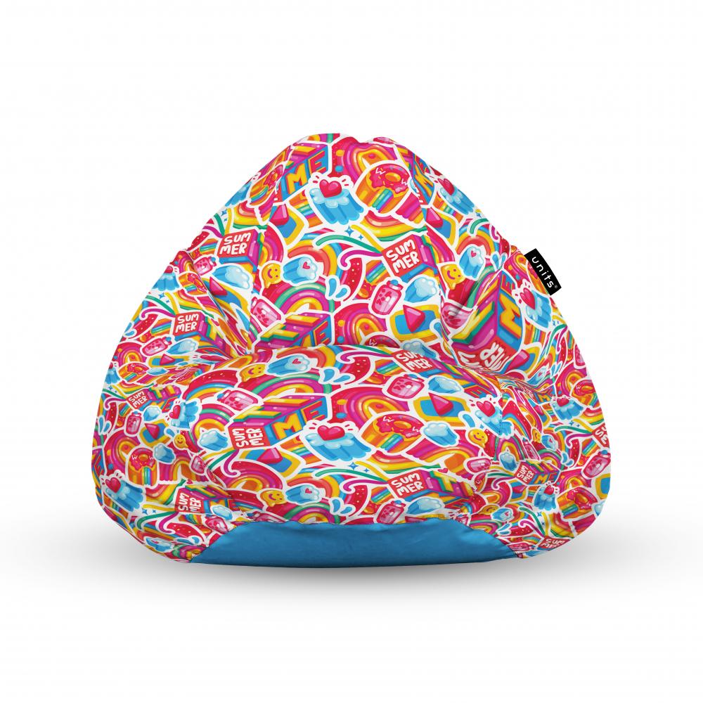 Fotoliu Units Puf Bean Bags tip para impermeabil cu maner candy rainbows