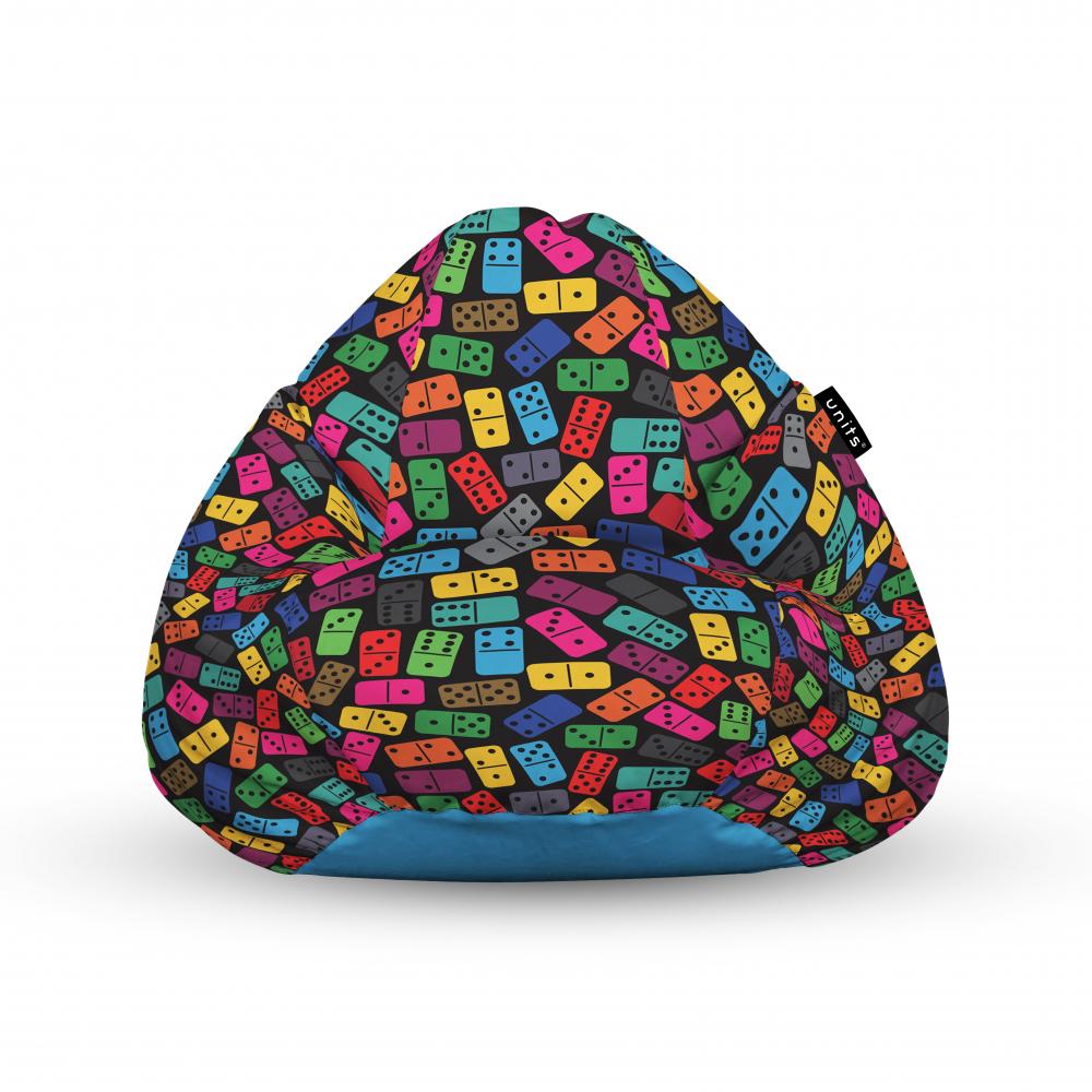 Fotoliu Units Puf Bean Bags tip para impermeabil cu maner domino colorat