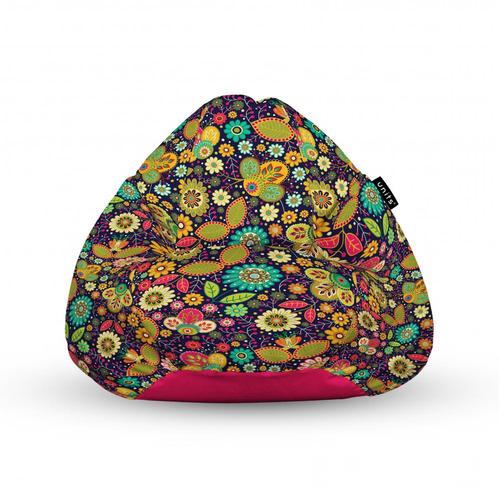 Fotoliu Units Puf Bean Bags tip para impermeabil cu maner flowers hippie imagine