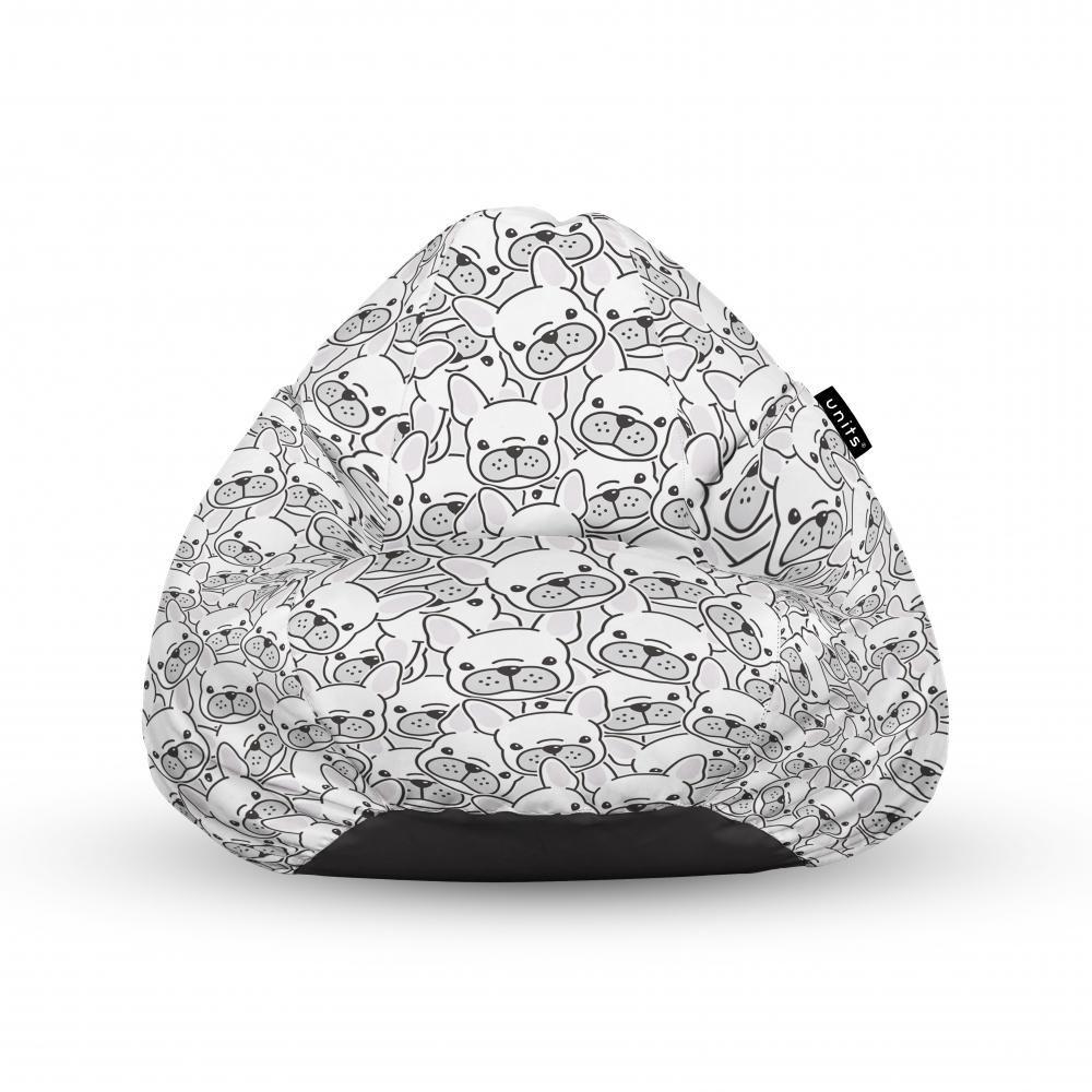 Fotoliu Units Puf Bean Bags tip para impermeabil cu maner frenchies albi