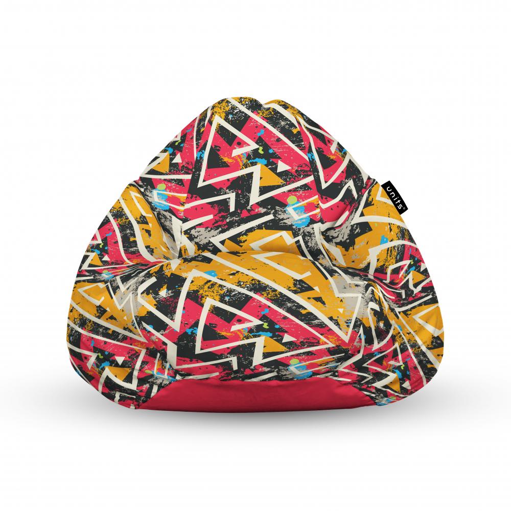 Fotoliu Units Puf Bean Bags tip para impermeabil cu maner graffiti grunge geometric