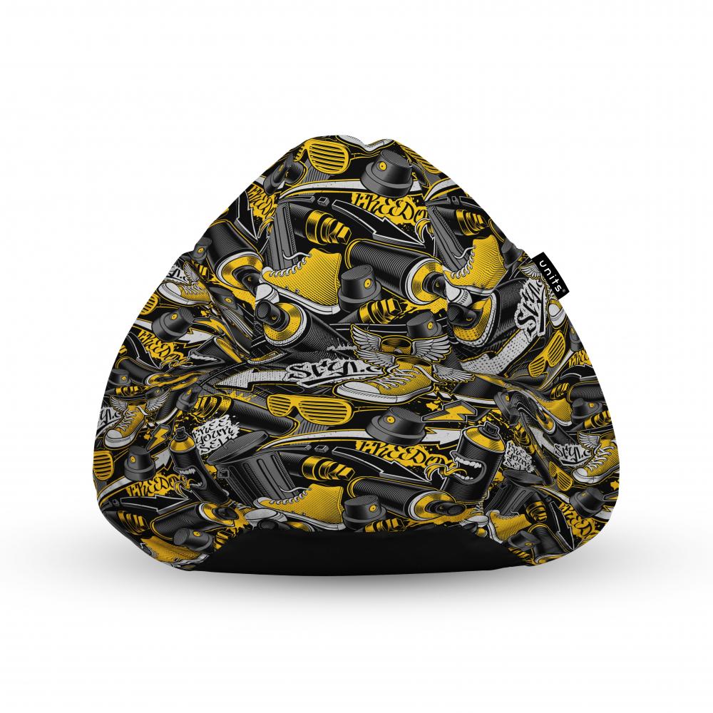 Fotoliu Units Puf Bean Bags tip para impermeabil cu maner graffiti retro negru si galben