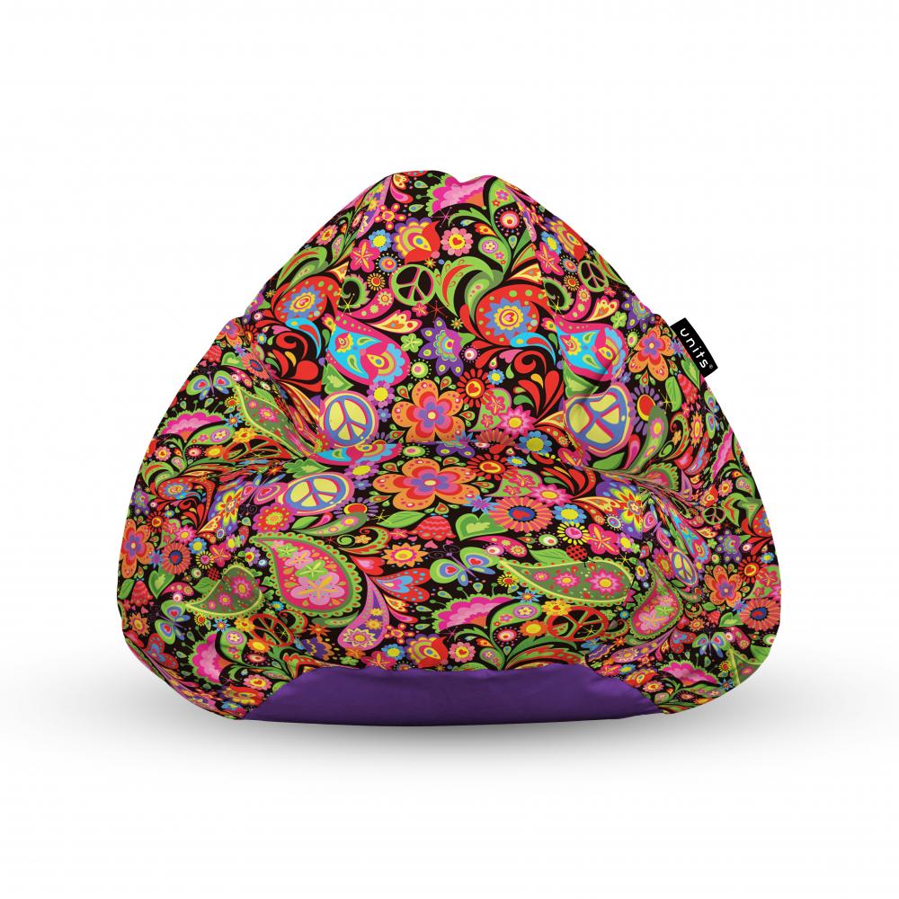 Fotoliu Units Puf Bean Bags tip para impermeabil cu maner hippie peace