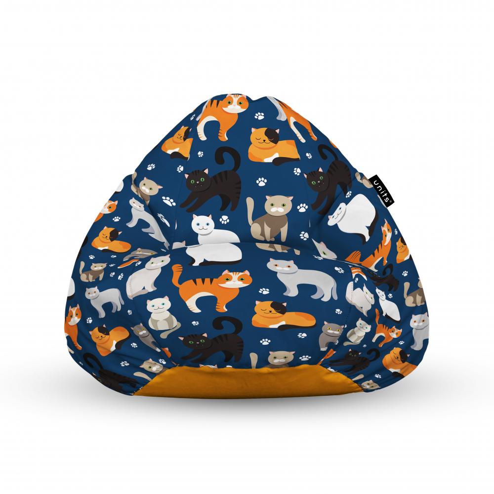 Fotoliu Units Puf Bean Bags tip para impermeabil cu maner pisici fundal albastru
