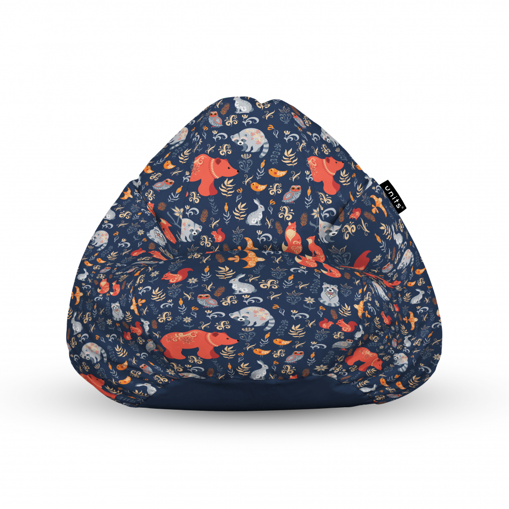 Fotoliu Units Puf Bean Bags tip para impermeabil cu maner prietenii padurii