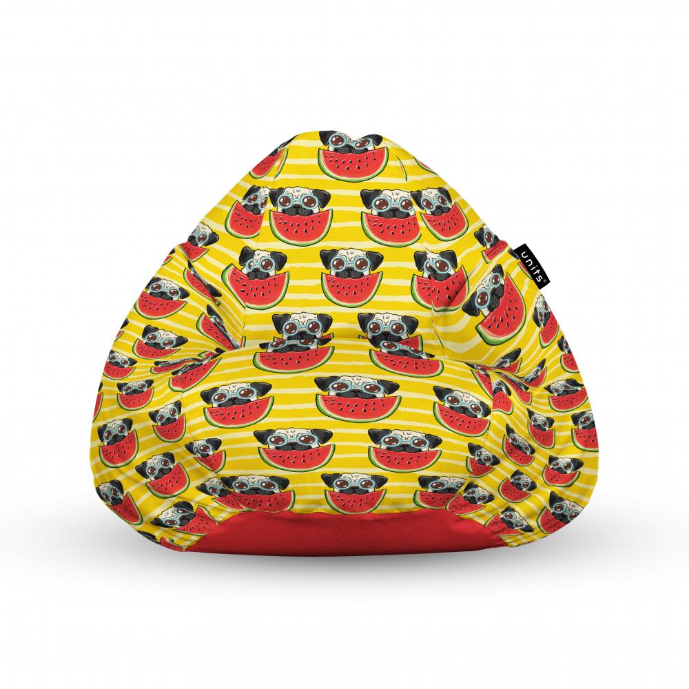 Fotoliu Units Puf Bean Bags tip para impermeabil cu maner pugs cu pepeni