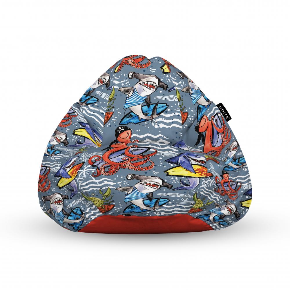 Fotoliu Units Puf Bean Bags tip para impermeabil cu maner surfing sharks