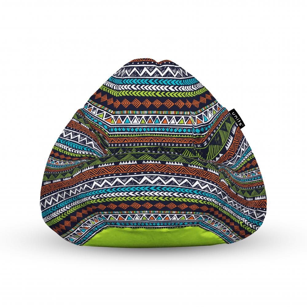 Fotoliu Units Puf Bean Bags tip para impermeabil cu maner tribal aztec