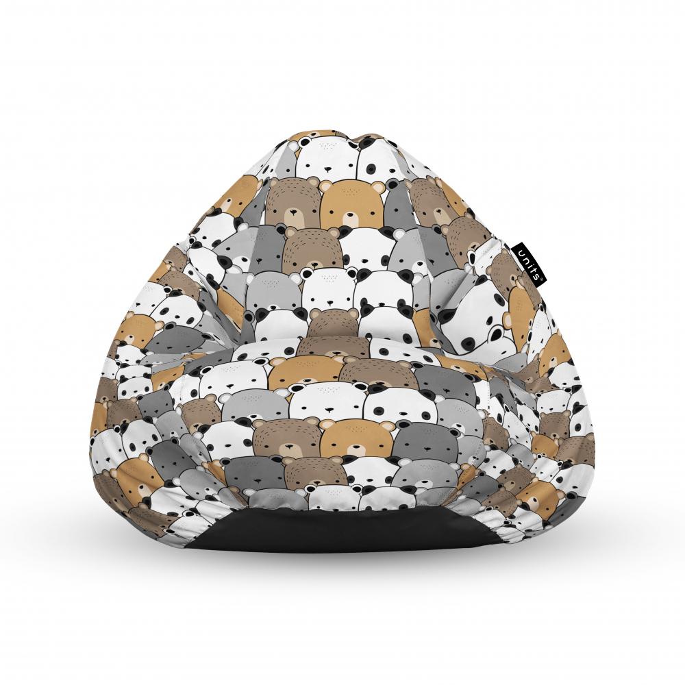 Fotoliu Units Puf Bean Bags tip para impermeabil cu maner ursuleti maro