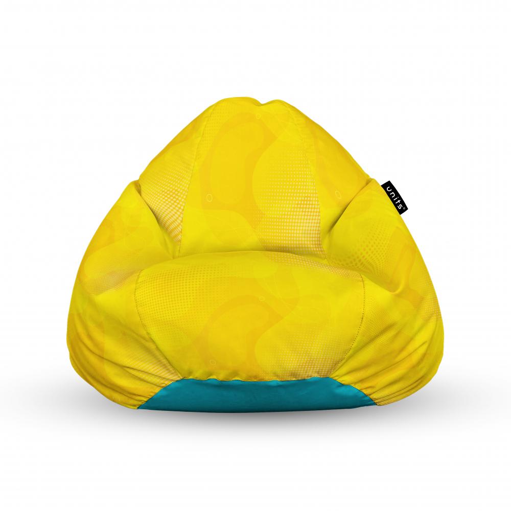 Fotoliu Units Puf Bean Bags tip para impermeabil cu maner abstract galben