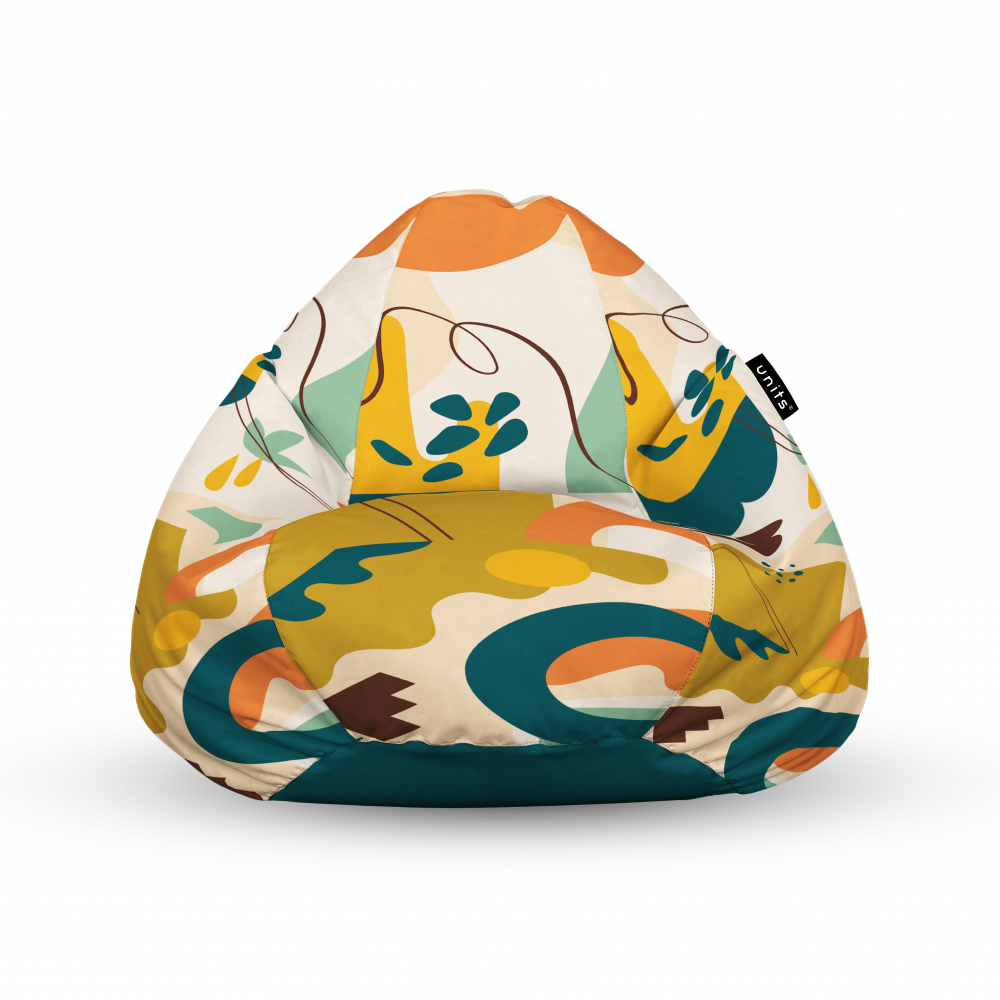 Fotoliu Units Puf Bean Bags tip para impermeabil cu maner abstract jungle