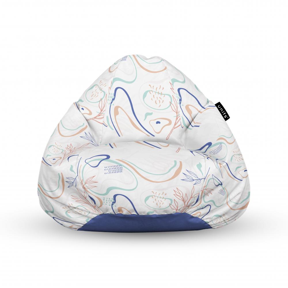 Fotoliu Units Puf Bean Bags tip para impermeabil cu maner alb cu linii albastre si crem