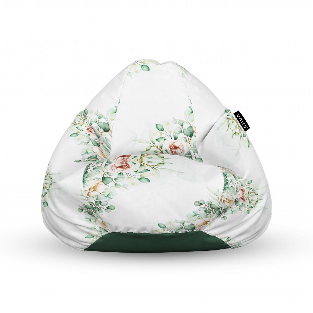 Fotoliu Units Puf Bean Bags tip para impermeabil cu maner floral alb