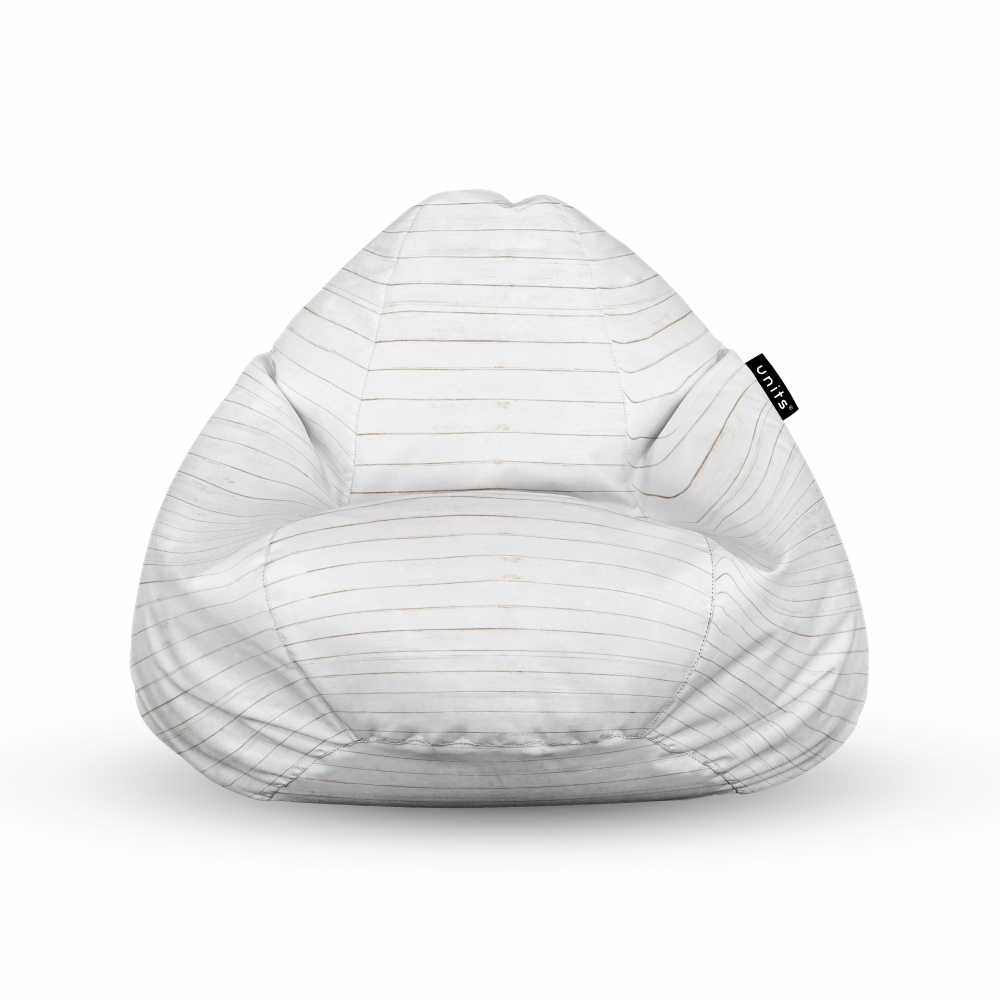 Fotoliu Units Puf Bean Bags tip para impermeabil cu maner lemn alb
