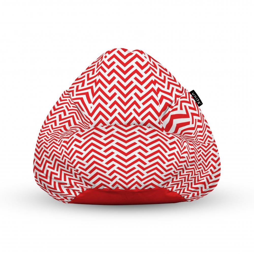 Fotoliu Units Puf Bean Bags tip para impermeabil cu maner model rosu si alb