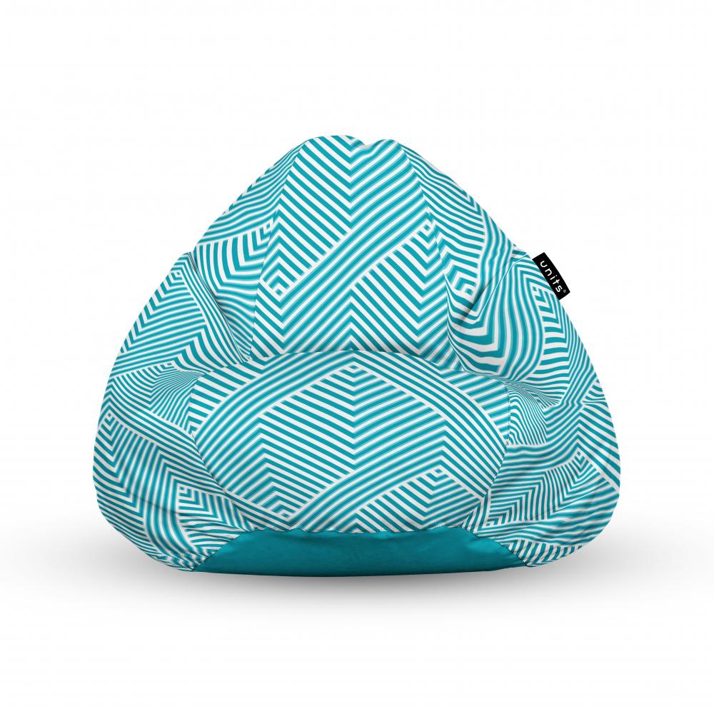 Fotoliu Units Puf Bean Bags tip para impermeabil cu maner motiv alb cu bleu