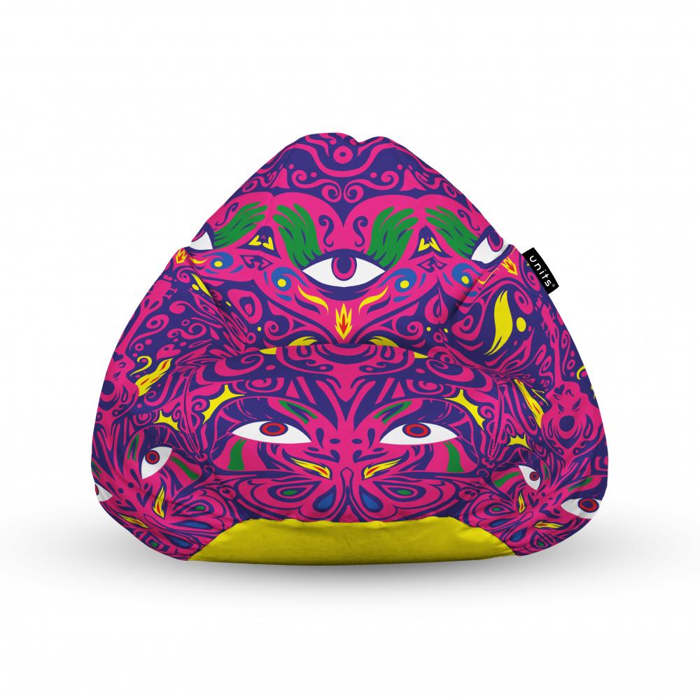 Fotoliu Units Puf Bean Bags tip para impermeabil cu maner psihedelic