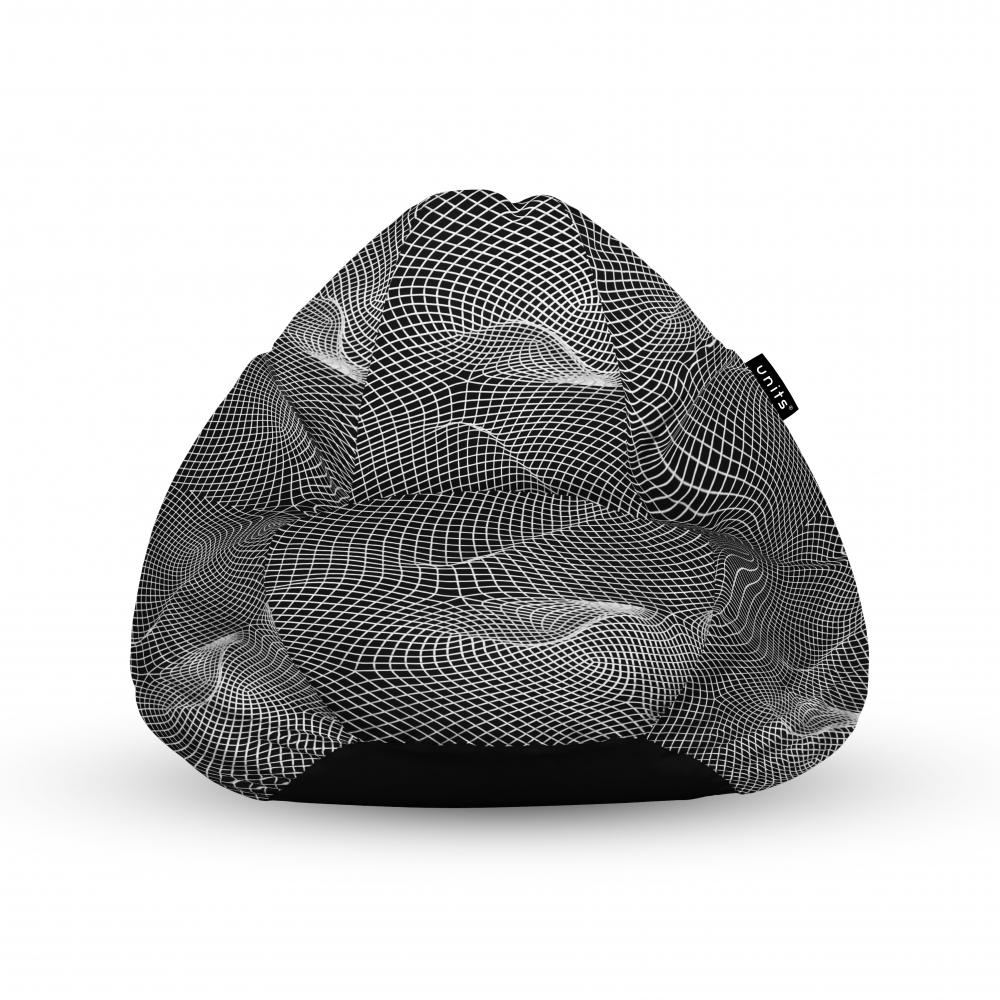 Fotoliu Units Puf Bean Bags tip para impermeabil cu maner topografic negru