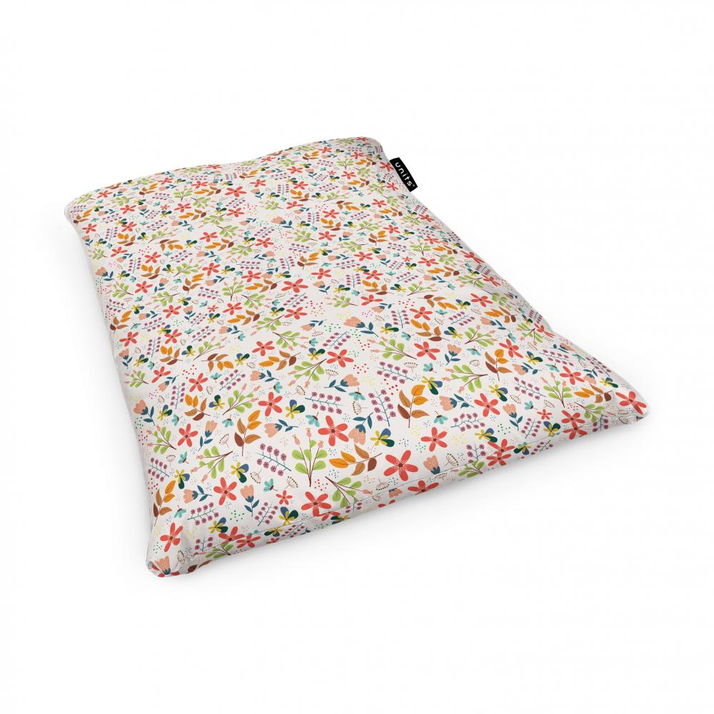 Fotoliu Units Puf Bean Bags tip perna impermeabil alb cu flori multicolore