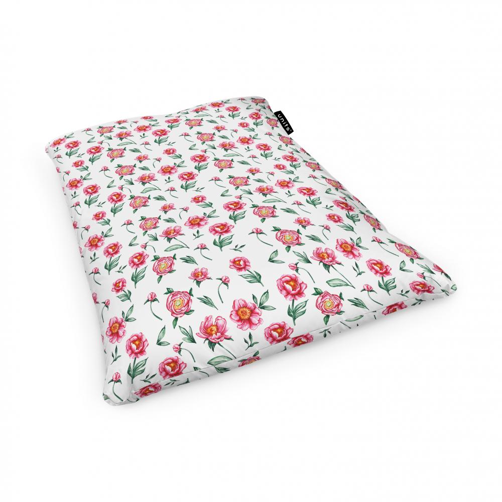 Fotoliu Units Puf Bean Bags tip perna impermeabil alb cu flori rosii