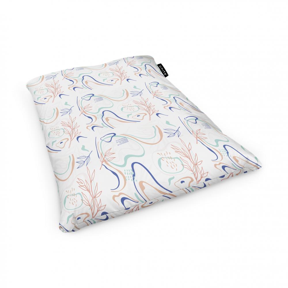 Fotoliu Units Puf Bean Bags tip perna impermeabil alb cu linii albastre si crem
