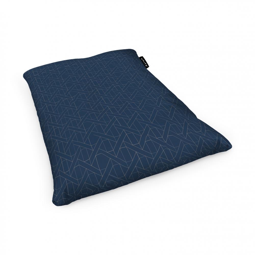 Fotoliu Units Puf Bean Bags tip perna impermeabil albastru inchis si linii bej