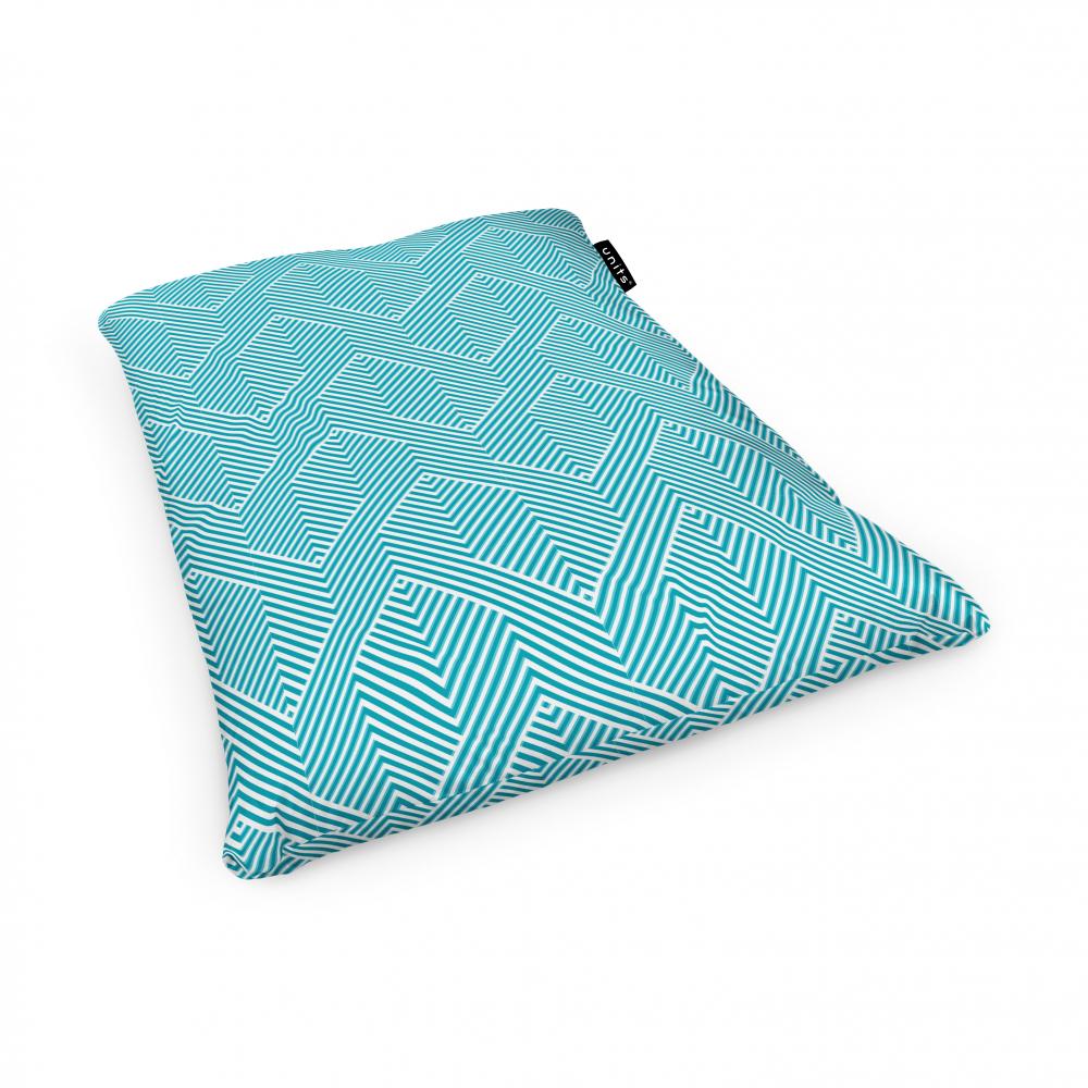 Fotoliu Units Puf Bean Bags tip perna impermeabil motiv alb cu bleu