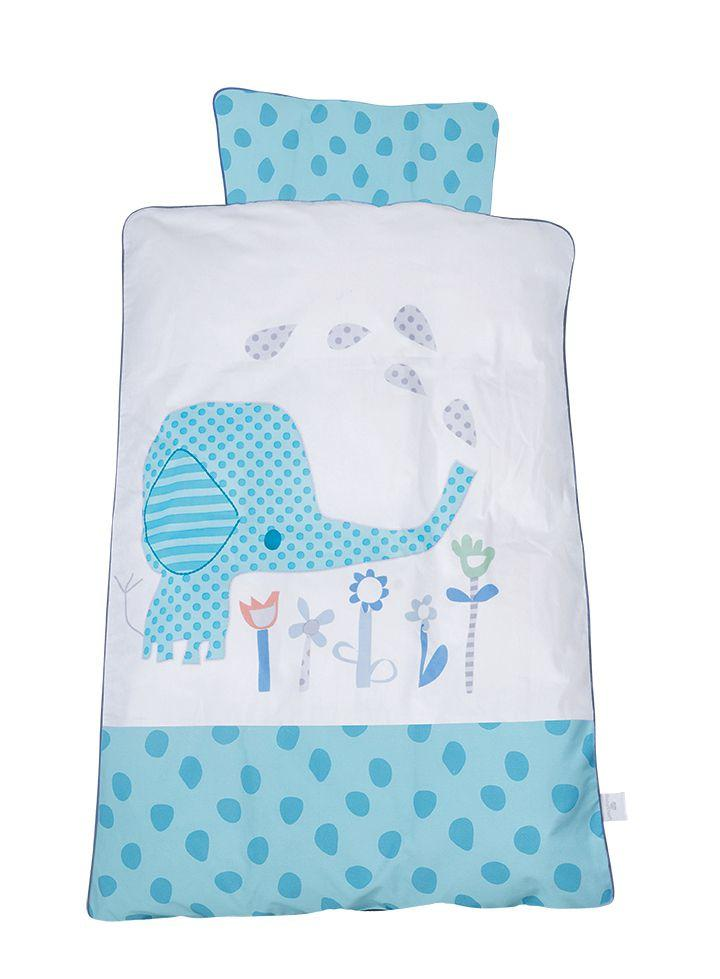 Lenjerie de pat Elefantastic bleu BabyDan 100x140 cm
