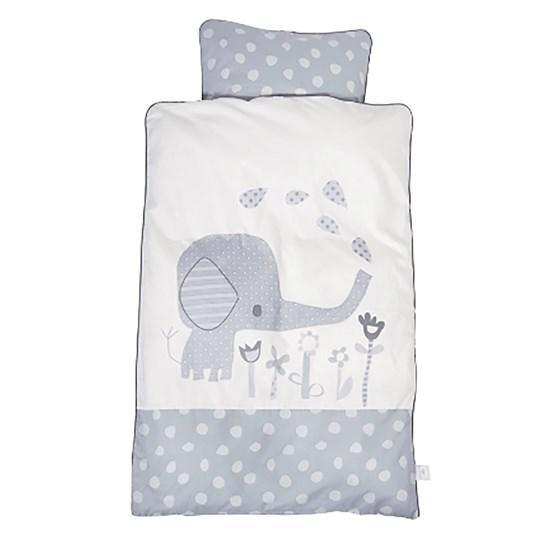 Lenjerie de pat bebelusi Elefantastic gri BabyDan 100x130 cm