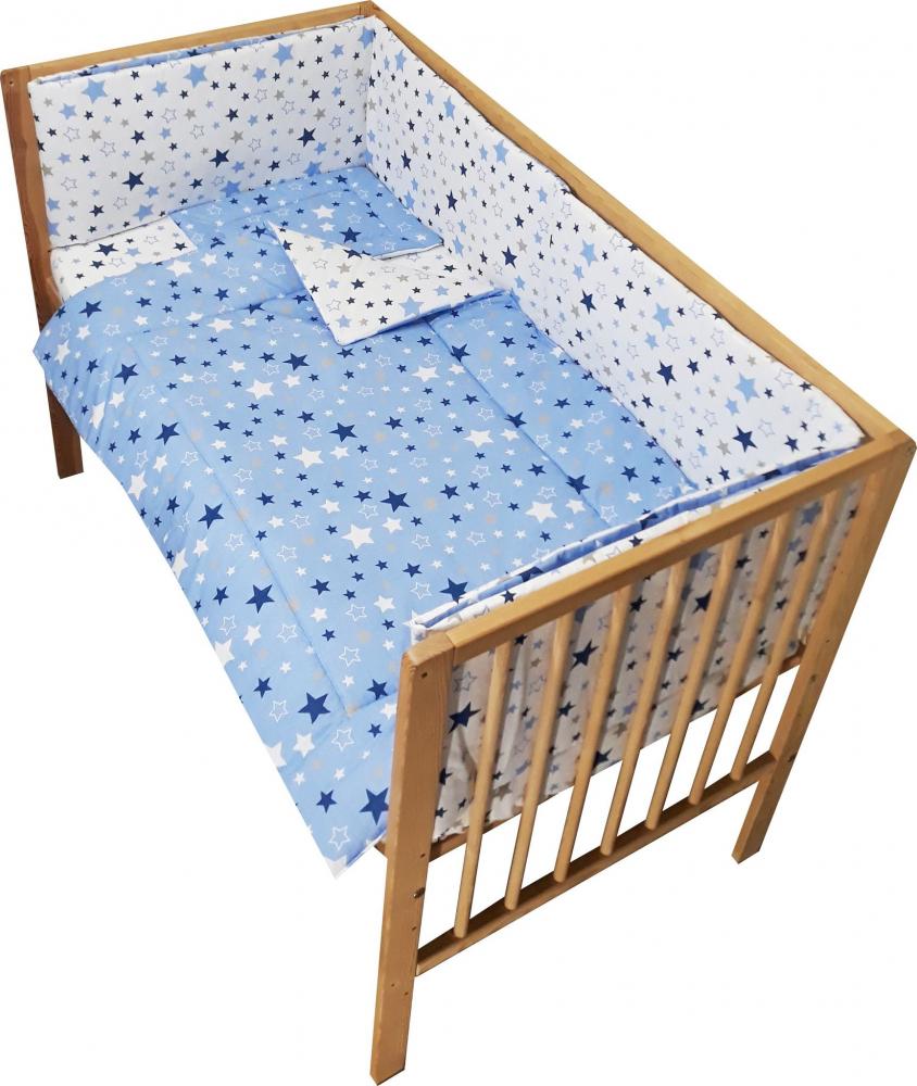 Lenjerie patut cu 2 fete si 5 piese 120x60 cm Nichiduta Blue Stars imagine
