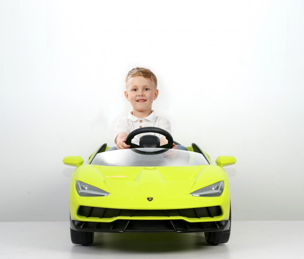 Masinuta electrica cu roti EVA si scaun piele Lamborghini Centenario Green - 3