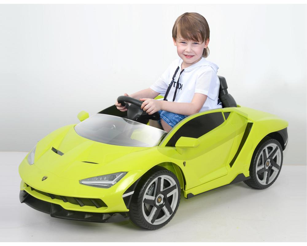 Masinuta electrica cu roti EVA si scaun piele Lamborghini Centenario Green - 4