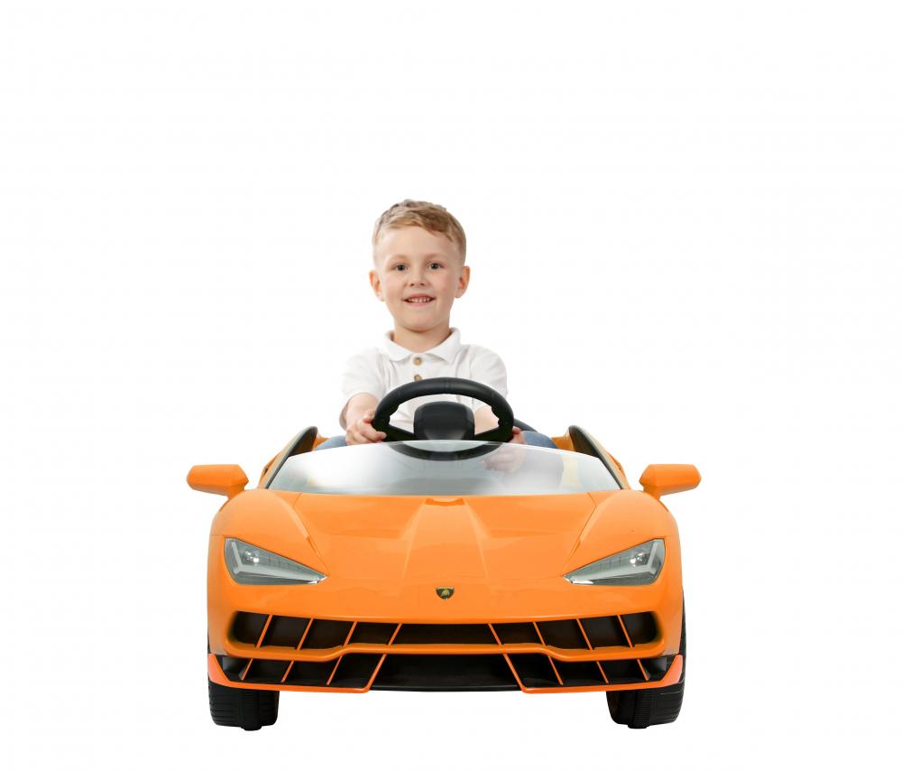 Masinuta electrica cu roti EVA si scaun piele Lamborghini Centenario Orange - 6