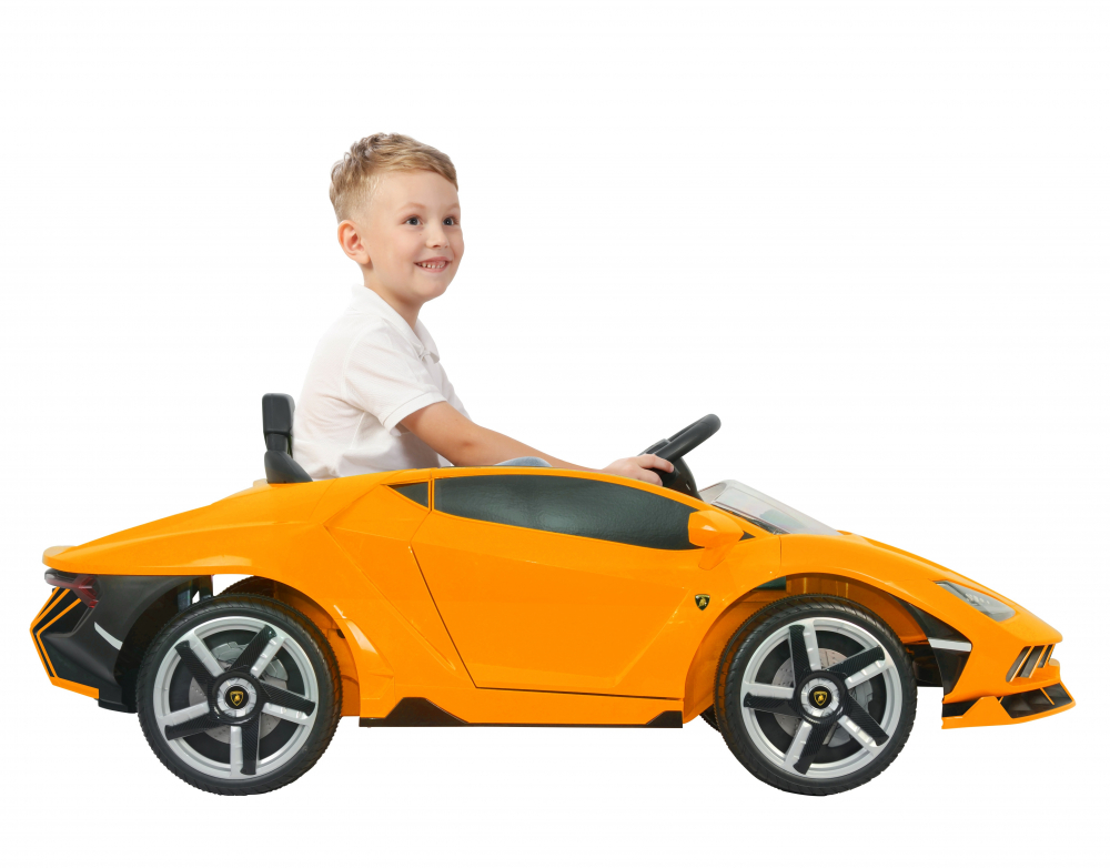 Masinuta electrica cu roti EVA si scaun piele Lamborghini Centenario Orange - 7