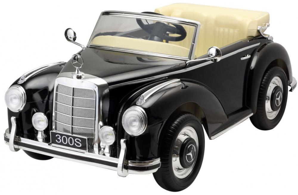 Masinuta electrica de epoca cu scaun din piele si roti EVA Mercedes Benz 300S Paint Black