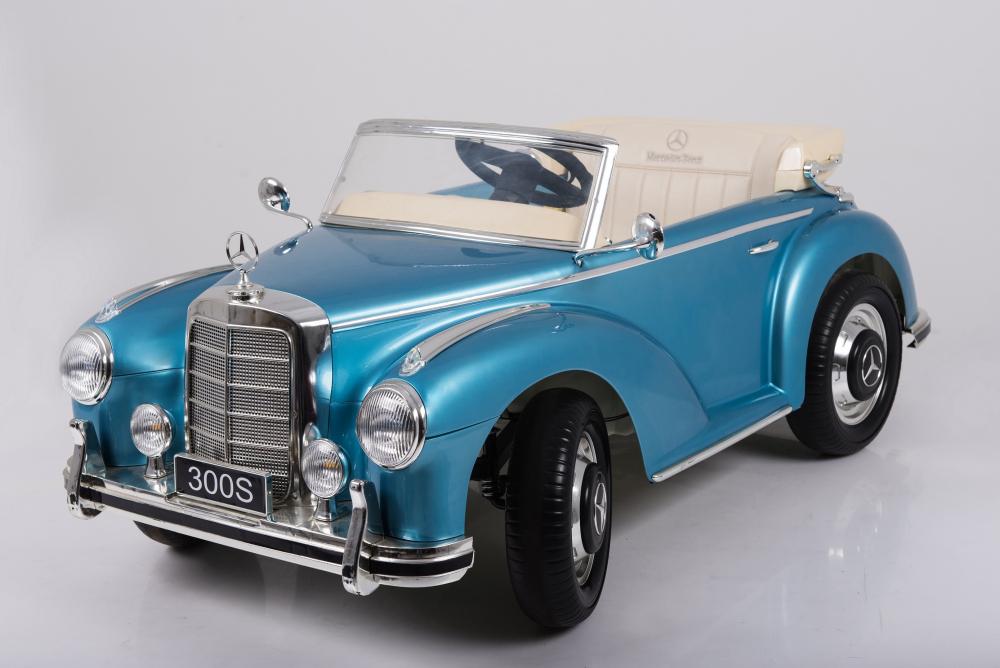 Masinuta electrica de epoca cu scaun din piele si roti EVA Mercedes Benz 300S Paint Blue - 2
