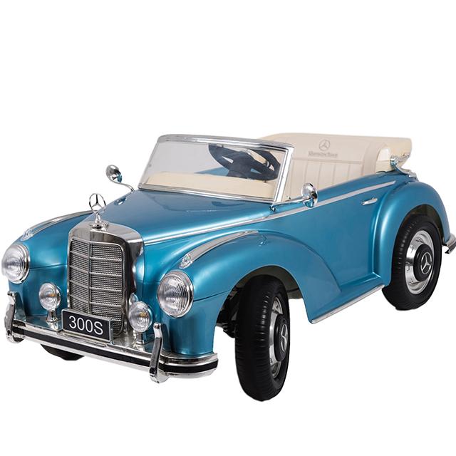 Masinuta electrica de epoca cu scaun din piele si roti EVA Mercedes Benz 300S Paint Blue - 4