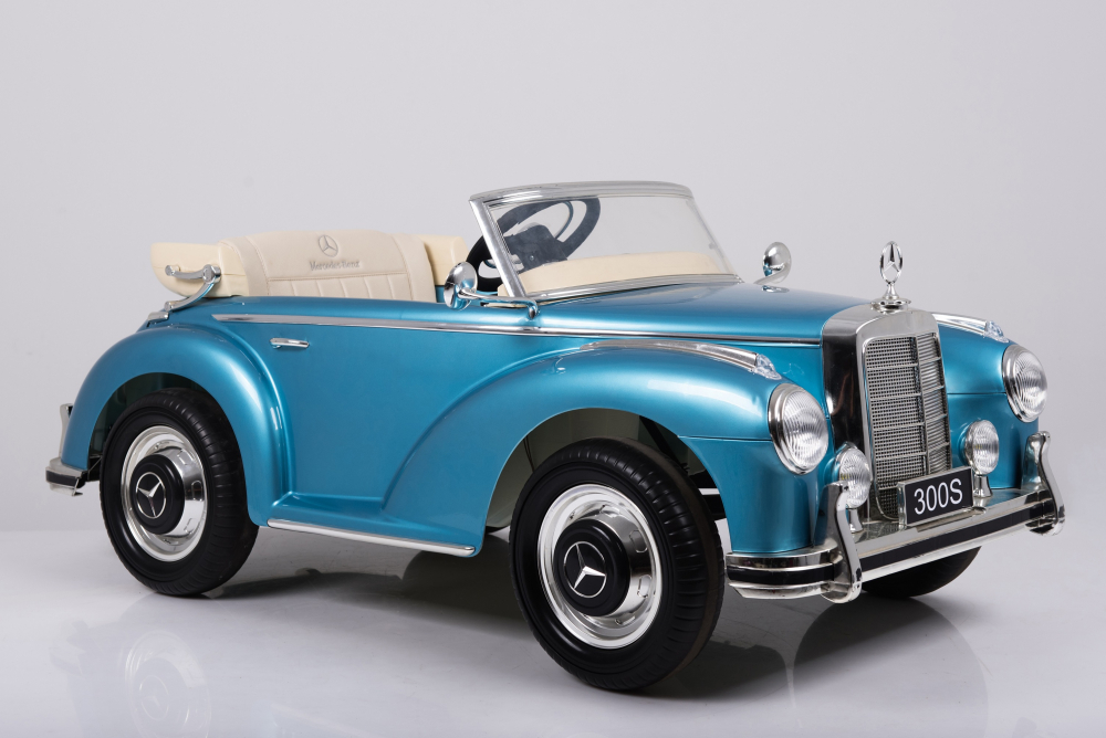 Masinuta electrica de epoca cu scaun din piele si roti EVA Mercedes Benz 300S Paint Blue - 6
