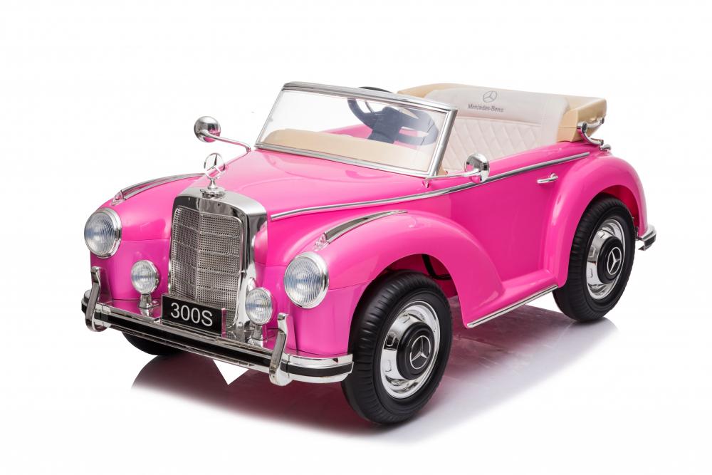 Masinuta electrica de epoca cu scaun din piele si roti cauciuc Mercedes Benz 300S Pink