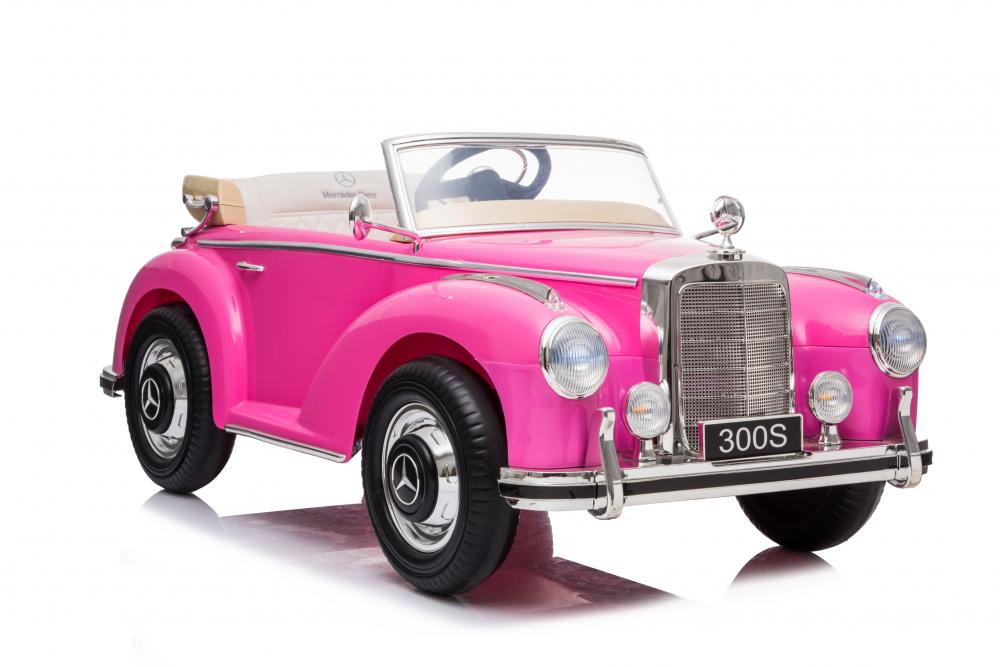 Masinuta electrica de epoca cu scaun din piele si roti cauciuc Mercedes Benz 300S Pink - 1