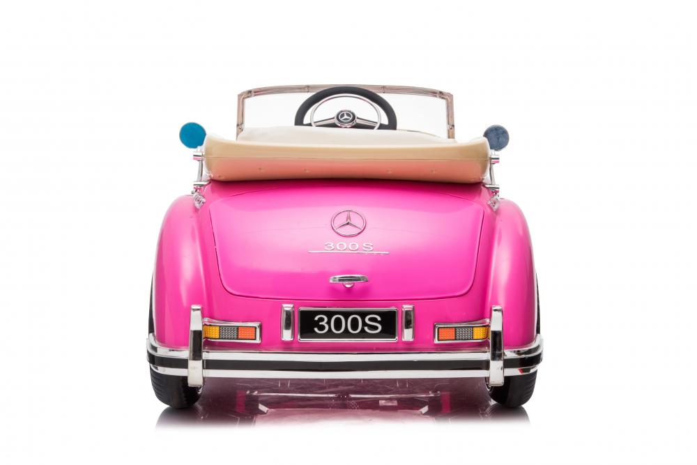Masinuta electrica de epoca cu scaun din piele si roti cauciuc Mercedes Benz 300S Pink - 2