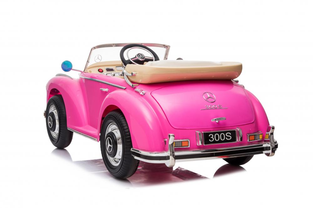 Masinuta electrica de epoca cu scaun din piele si roti cauciuc Mercedes Benz 300S Pink - 3