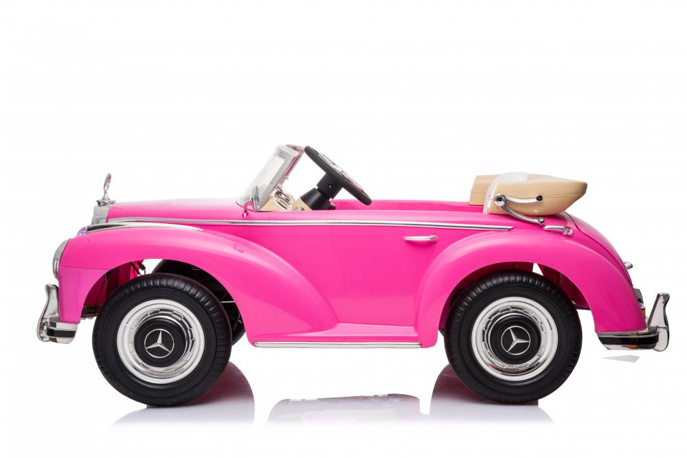 Masinuta electrica de epoca cu scaun din piele si roti cauciuc Mercedes Benz 300S Pink - 4