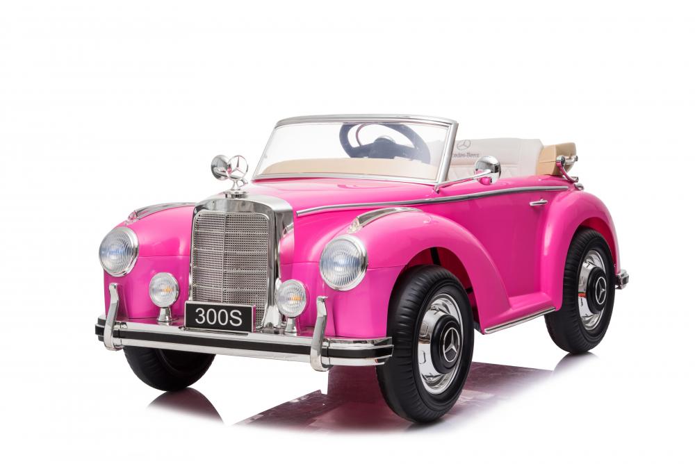 Masinuta electrica de epoca cu scaun din piele si roti cauciuc Mercedes Benz 300S Pink - 5