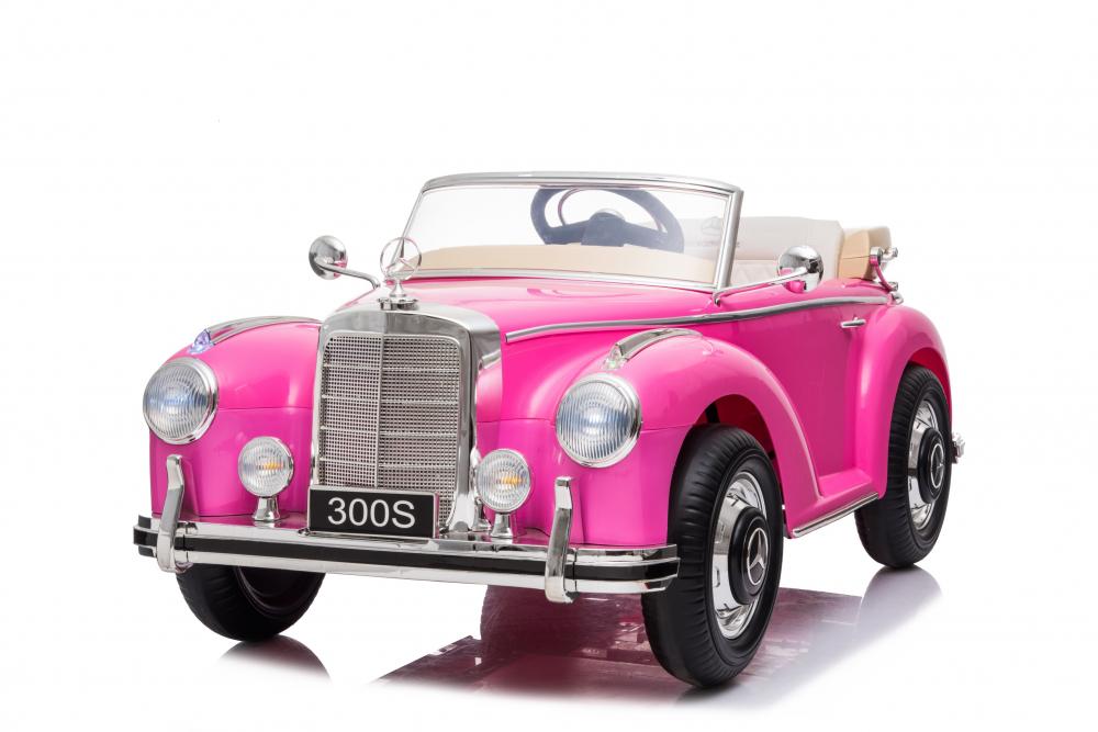 Masinuta electrica de epoca cu scaun din piele si roti cauciuc Mercedes Benz 300S Pink - 6