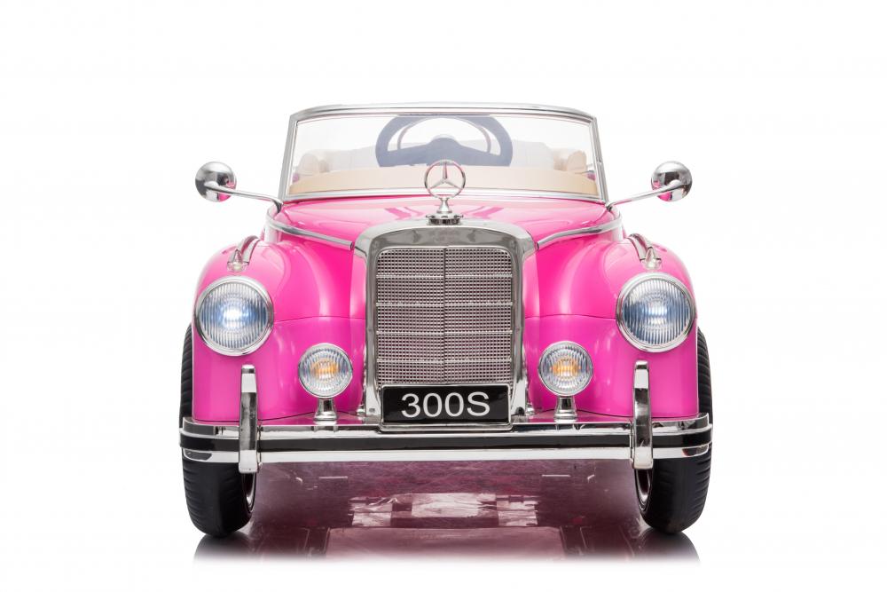 Masinuta electrica de epoca cu scaun din piele si roti cauciuc Mercedes Benz 300S Pink - 7